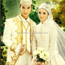 Long Sleeve Muslim Wedding Dresses 2016 Beaded Sash Vestidos De Novia Bridal Gowns