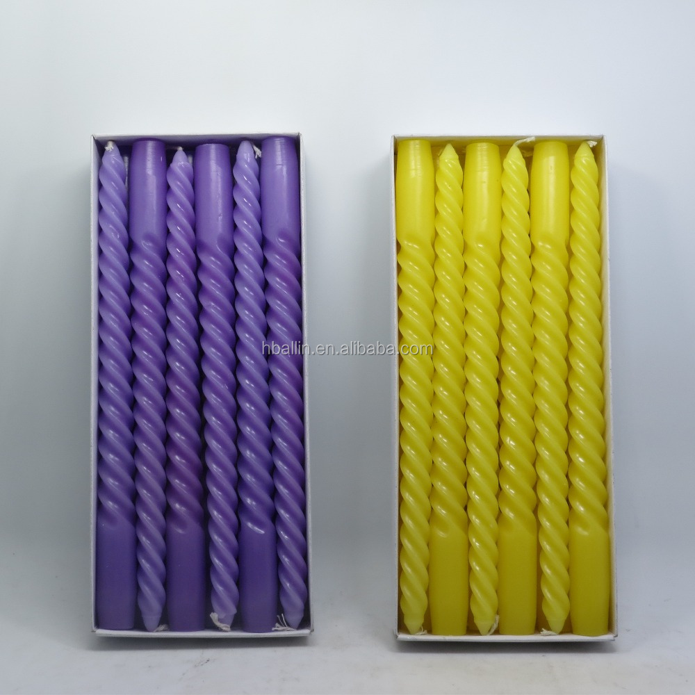 wholesale scented taper spiral candle for birthday candle