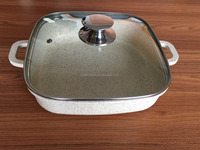 die cast square pan with metal knob with marble coating
