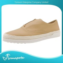 women slip on shoes beige embossed immitation casual leather shoes