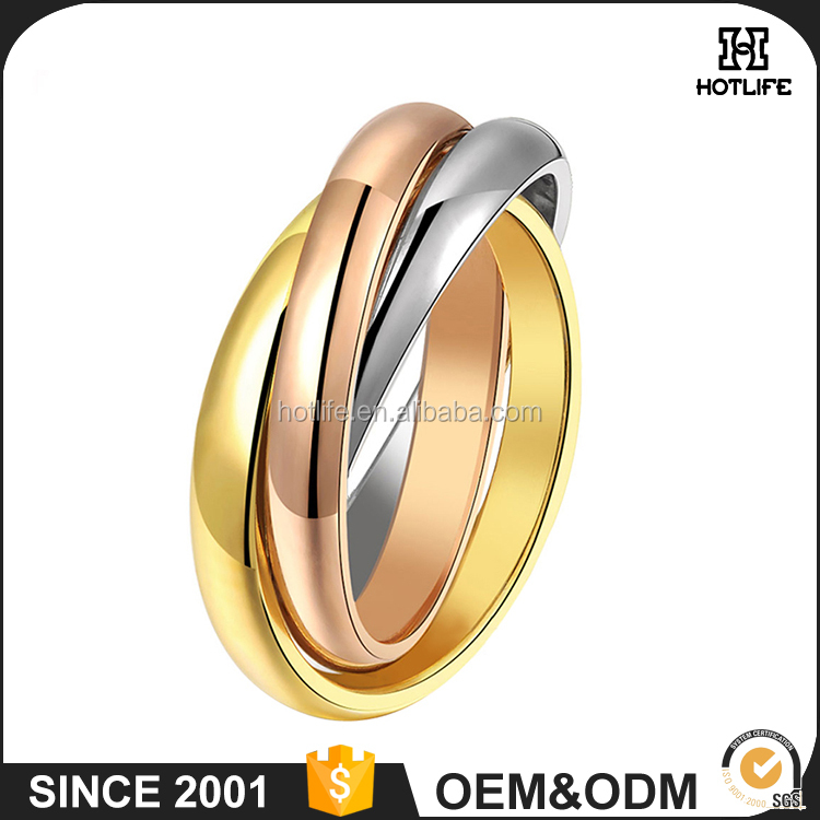 Fashion Style New Design Rings Photos 316L Stainless Steel Ip Plating Gold Finger Rings Jewelry