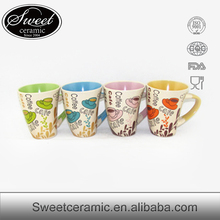 Wholesale Coloful Stoneware pottery photo mug,unglazed mug