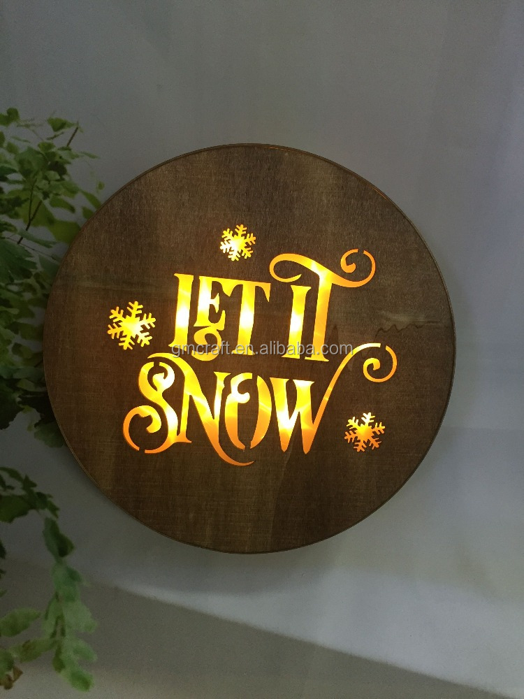 Light Up Christmas decor,Let it snow Wooden Sign