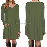 Guangzhou Factory Clothing Latest Designs Women's Long Sleeve Pocket Casual Plus Size Ladies Fashion T-Shirt Dress Photos