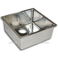 kitchen sink R15 rectangular mm 400x400xh200 chemical finish and bright polished