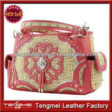 WESTERN LEATHER FLOWER BLING STUDDED CONCEALED WEAPON LADIES RHINESTONE PURSE WOMEN TOTE BAGS