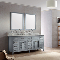 Boma gray european style bathroom vanity with double sink and nature stone countertop