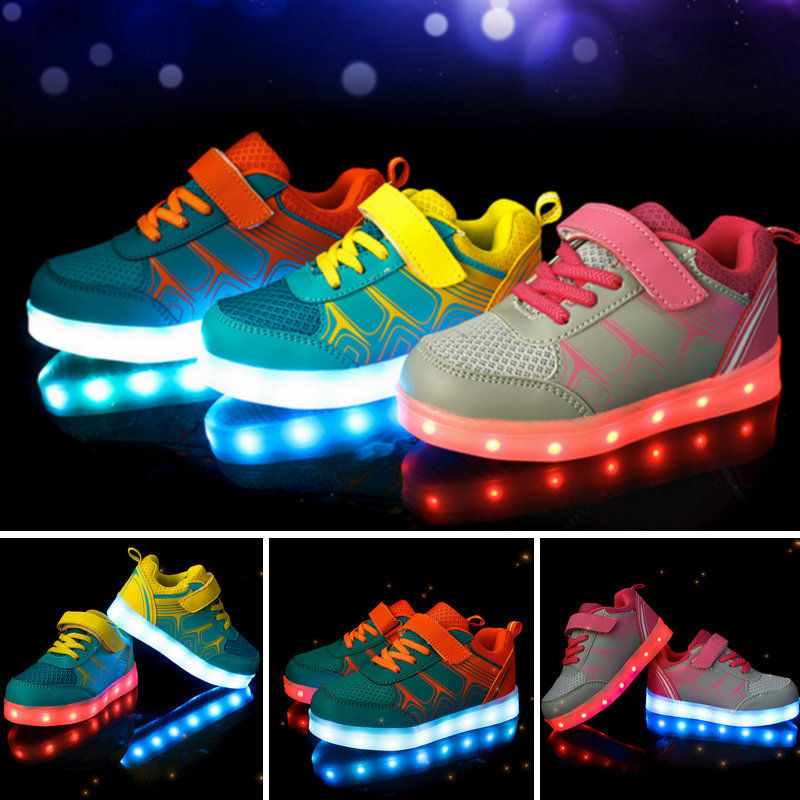 Children's Fashion LED Light Athletic Luminous Shoes kids Sport Sneaker Shoes
