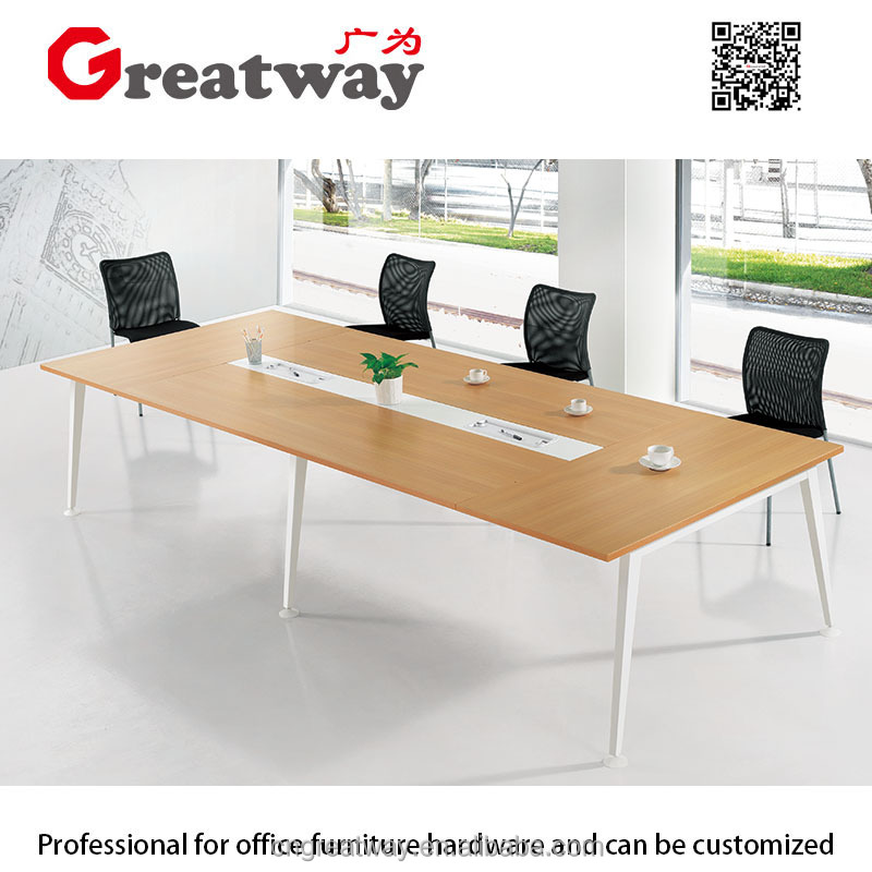 conference modern design, desk, metal wood meeting table with power (QE--40M-1)