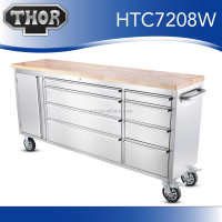"72"" Anti-fingerprint Stainless steel tool box / ultity tool cabinet wood top workbench"