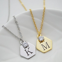stainless steel women gold hexagon shape <strong>necklace</strong> custom engraved initial name with diamond pendant <strong>necklace</strong>