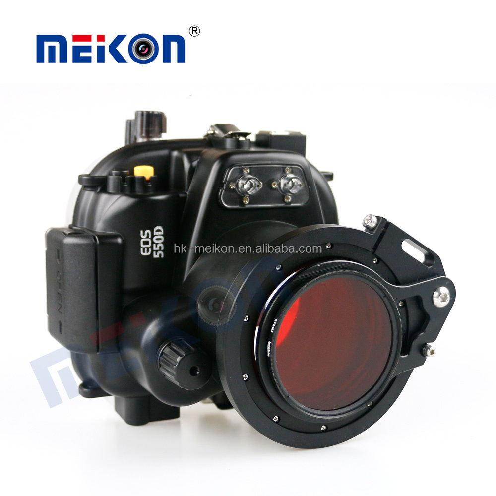 MEIKON 40m/130ft Underwater Waterproof Camera Housing for Canon EOS 550D/Rebel T2i with Underwater Filter