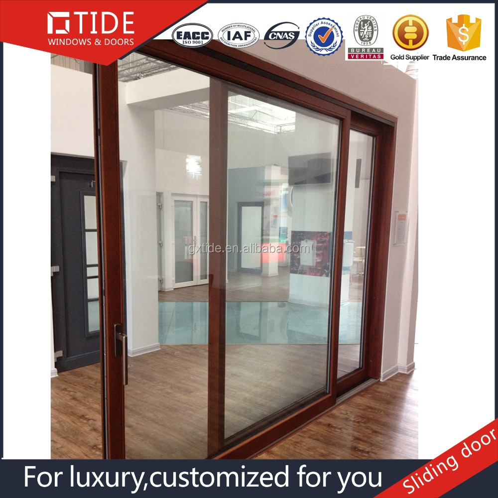 Aluminum profile glass sliding door timber inside with double tracks doors
