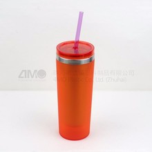 bpa free shaker cup, travel coffee stainless steel mug cup with straw