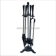 Hot selling fireplace tool set with turn handle black cast iron fireplace accessories