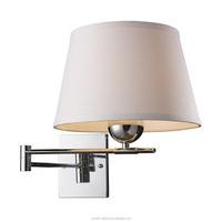 Delicate Chrome Hotel Wall Lamp with Metal Body and Round Linen Fabric Lampshade