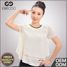 Wholesale fashion beautiful mature women blouse short sleeve lady blouse & top