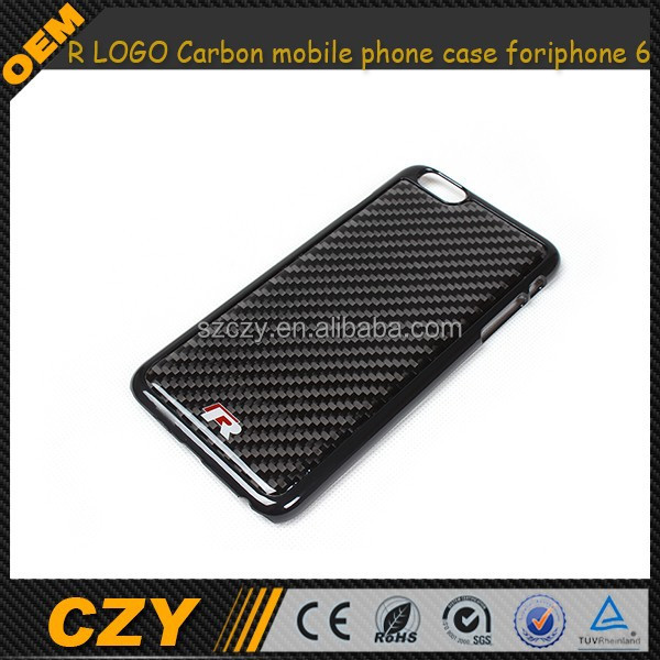 R LOGO Slim plastic Cover Carbon mobile phone case for iphone 6 plus