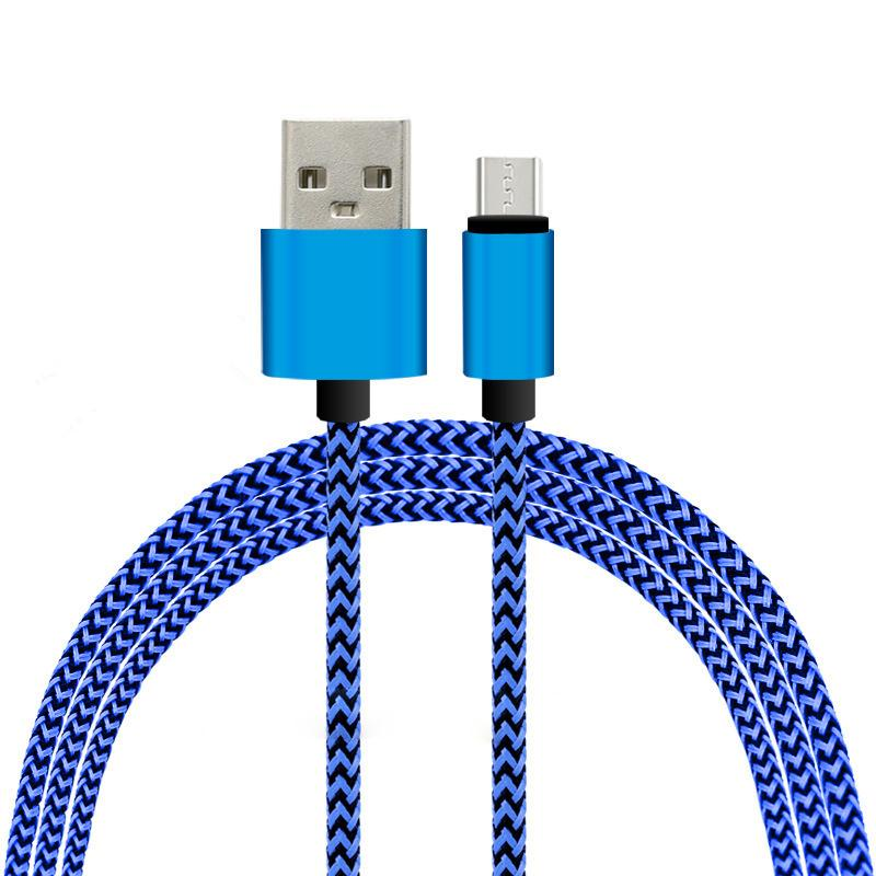 Free DHL Fabric Braided Nylon V8 Micro USB Data Sync Cable Cords For Samsung S4 S5