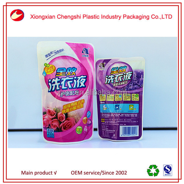 Printed plastic hair gel packing container spout pouch