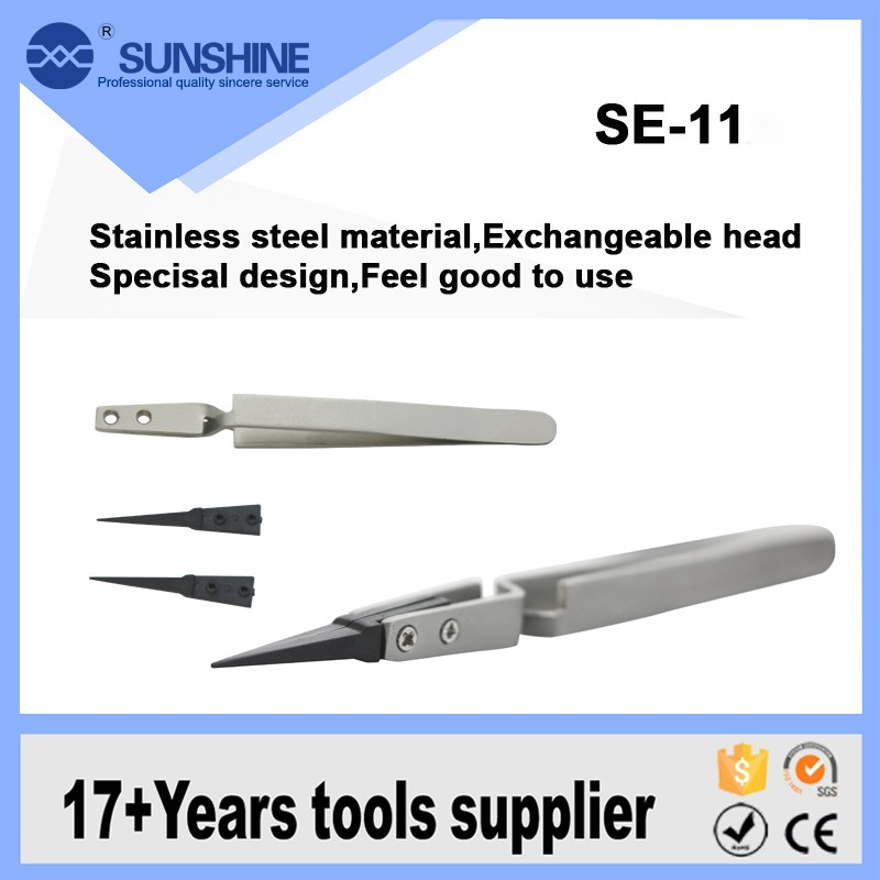 High Quality Exchangeable Head Anti Static Tweezers With Plastic Tips For Computer And Mobile Repair Tools