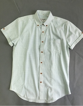 man tan buttons short sleeve plain shirts