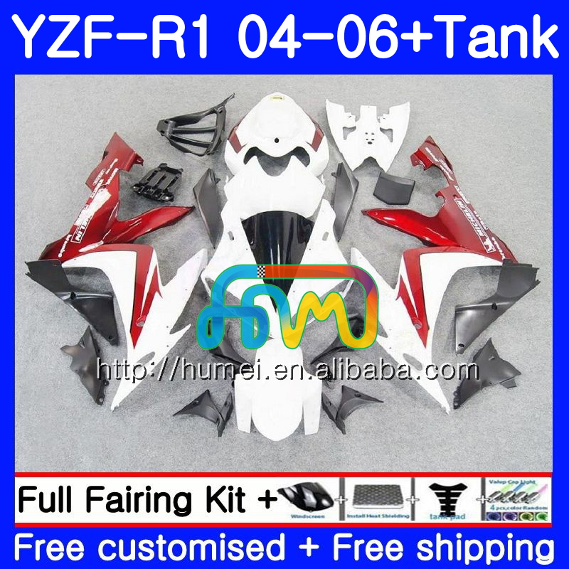 Body kit For YAMAHA YZF 1000 white red R 1 YZF <strong>R1</strong> <strong>04</strong> 05 06 95HM41 YZF-1000 YZF-<strong>R1</strong> 2004 2005 2006 YZF1000 YZFR1 <strong>04</strong> 06 <strong>Fairing</strong>