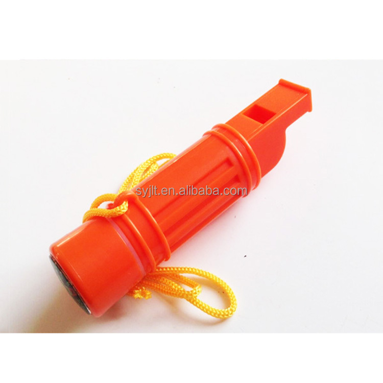 5 in 1 Survival outdoor custom emergency whistle/compass whistle with lanyard
