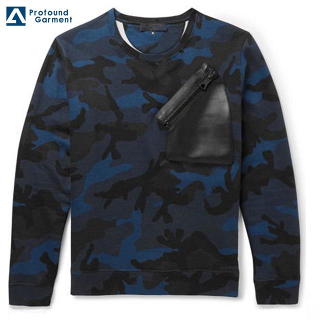 hot sale printed sweatshirt plain wholesale camo hoodie sweatshirt leather chest pocket with zipper sweatshirt