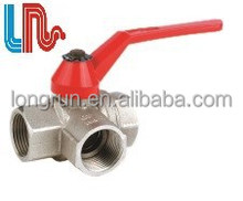 Nickel Plating Iron hanlde 3 way Brass ball valve