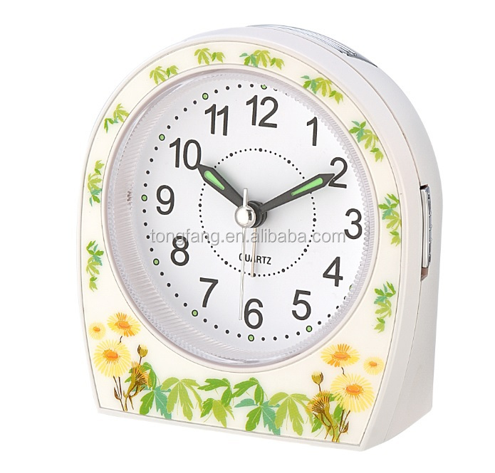 Silk printing Yellow flower Table Alarm Clock