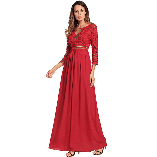 Royal Blue/Red Lace Ladies Long Chiffon Dresses 2018 Real Photo Long Sleeve Bridesmaid Dresses Fashion Summer Women's Dresses