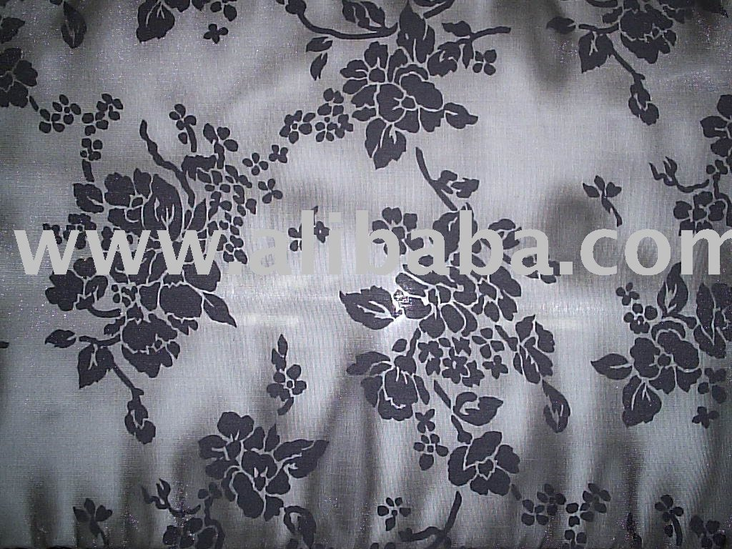 Polyester Mono Filament / Cotton Burn-Out Satin Opal Fabric