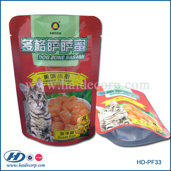 stand up laminated cat food pouch/pet food packaging bag