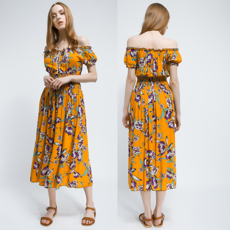 Latest style elegant floral printed off shoulder boho Women Maxi dress for vacation