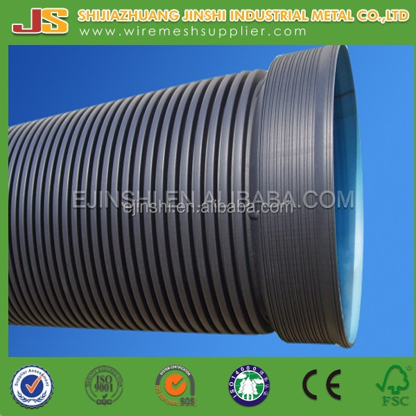 SN8 Underground Water Used HDPE Double Wall Corrugated Pipe with Rubber Ring