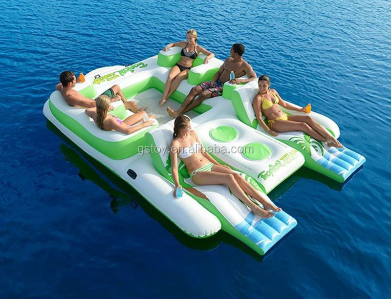 EN71 approved PVC inflatable island floating lounge