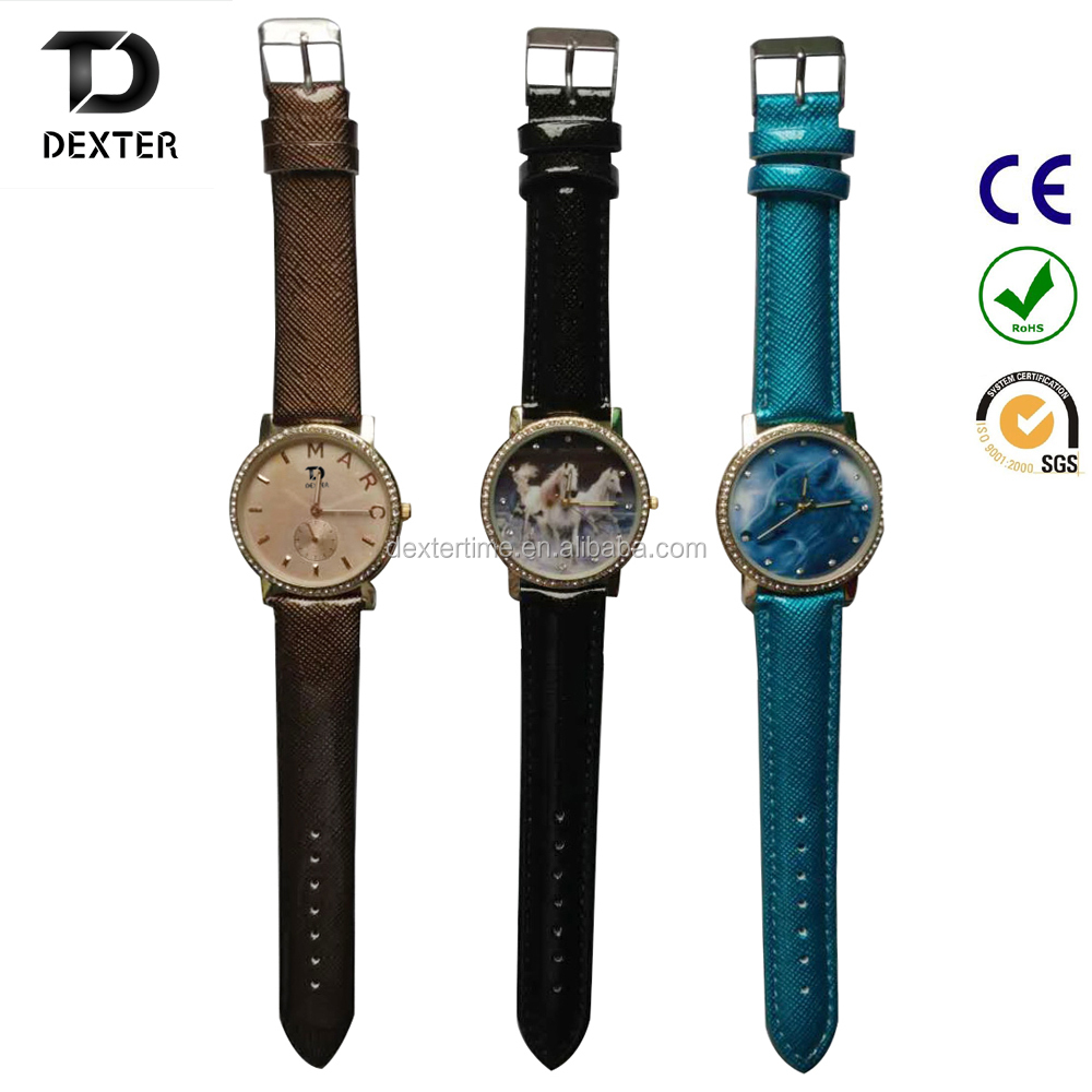 beautiful fashion customized leather fancy woman bracelet wrist watch