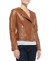Soft smooth lamb skin Golden-Zip Leather Moto Jacket, Sexy Premium Genuine Leather Jacket - XS S M L XXL XXXL XXXXL