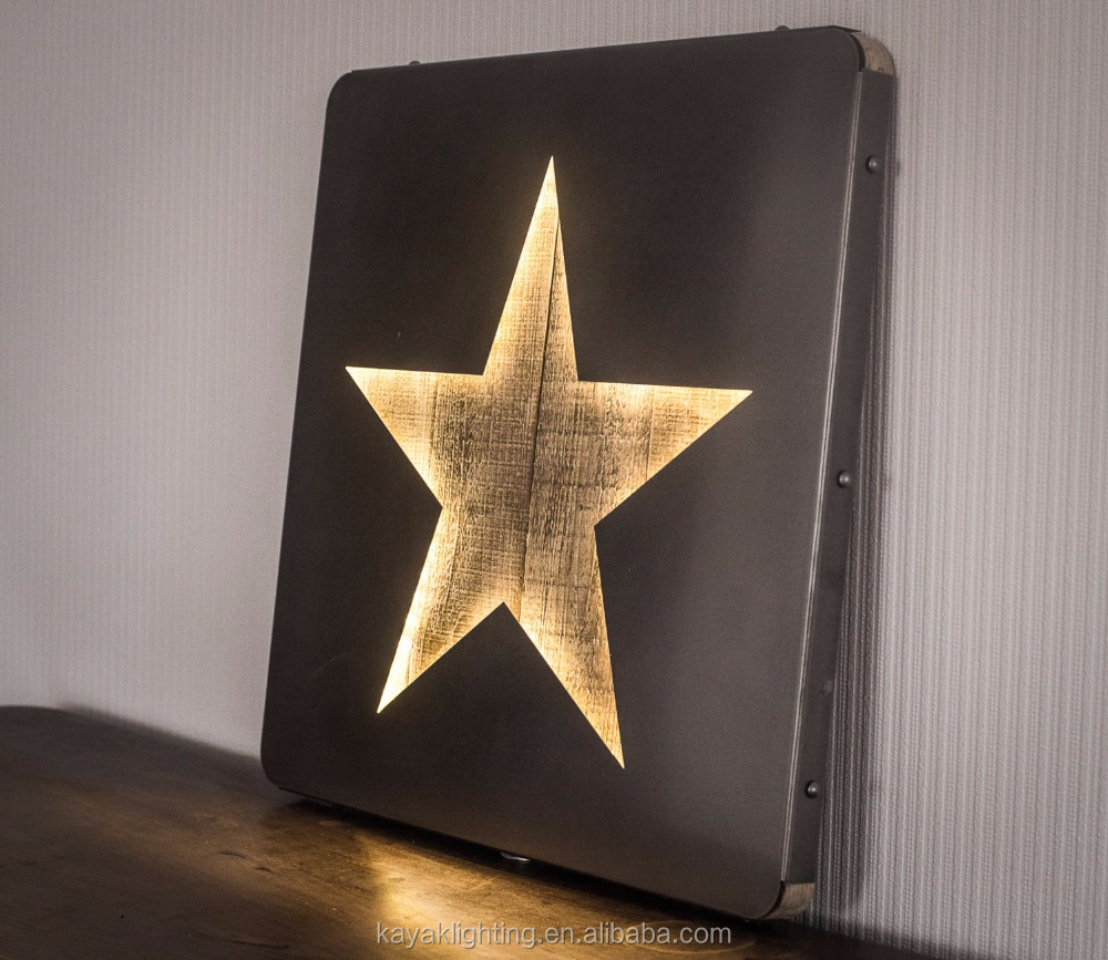 new style vintage wood star silver metal photo frame home decorative LED light