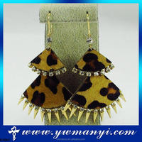 NEW style wholesale leopard horse hair earring ,pierced earring jewelry