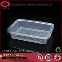 Disposable Plastic Food Container Safe & Healthy Take Away Packing Box 500ml Transparent Quadrate