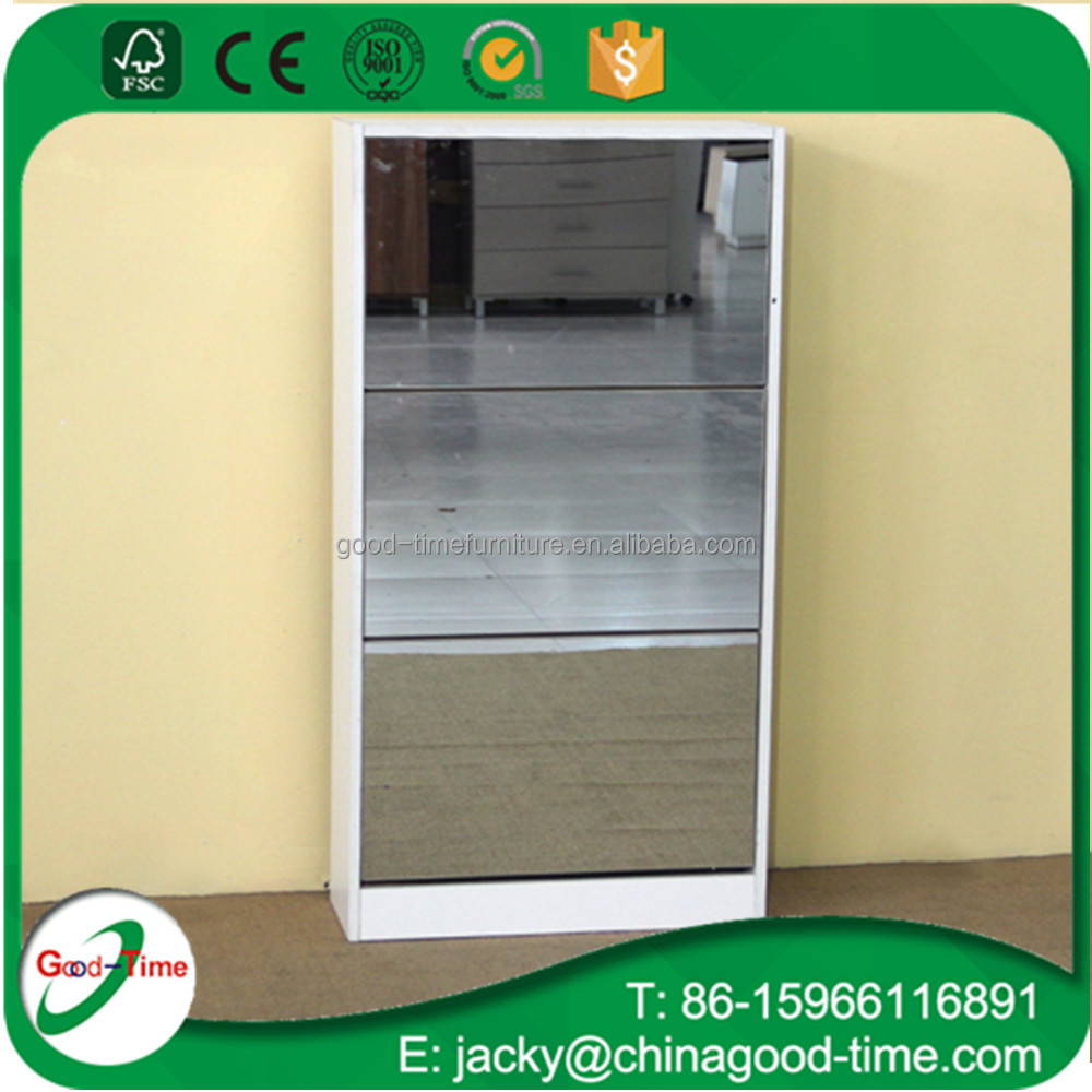 Modern cheap 3 layers shoe cabinet with mirror