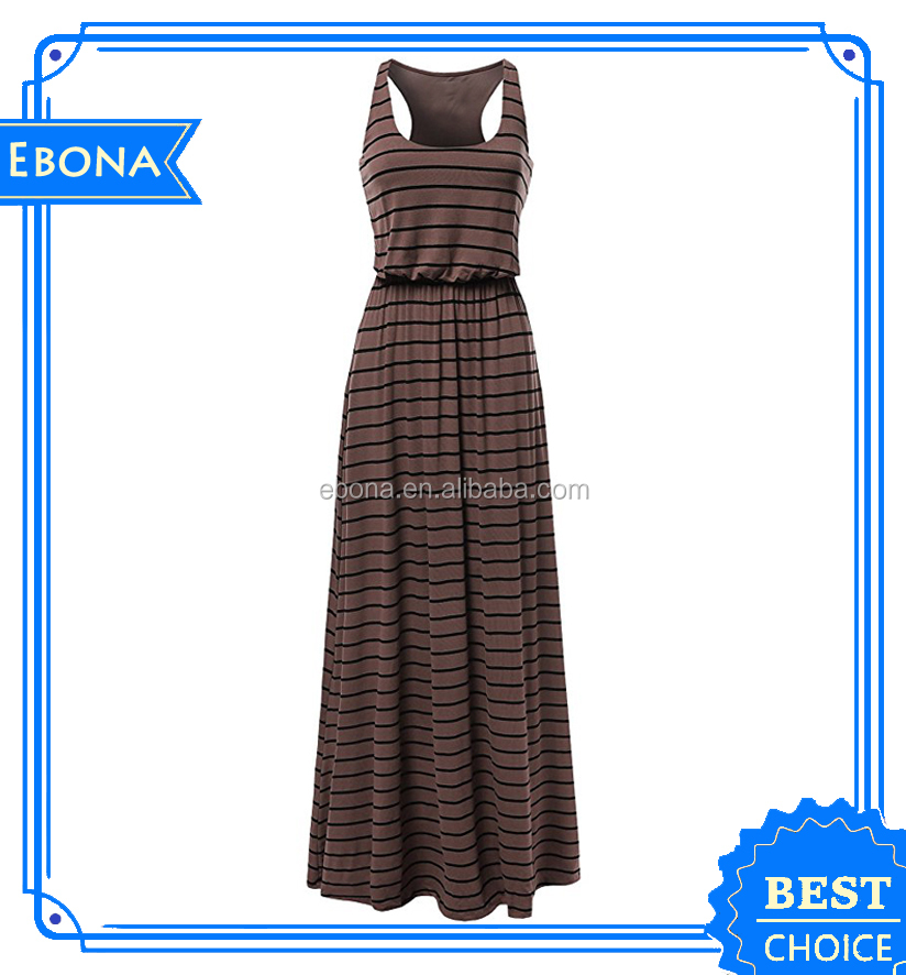 Latest Fashion Women Long Maxi Sexy Dress Ladies Casual Striped Dresses Design