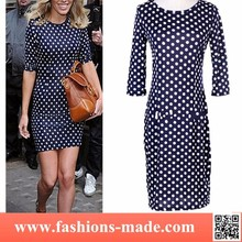 Womens Dots Navy Casual One Piece Dress