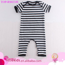 Short Sleeve Long Leg Unisex Baby Jumpsuit Black White Striped Cotton Knitted Baby Rompers