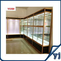 Wooden glass model car display cabinets glass mirror, used glass showcases mobile phone stand, glass counter showcase