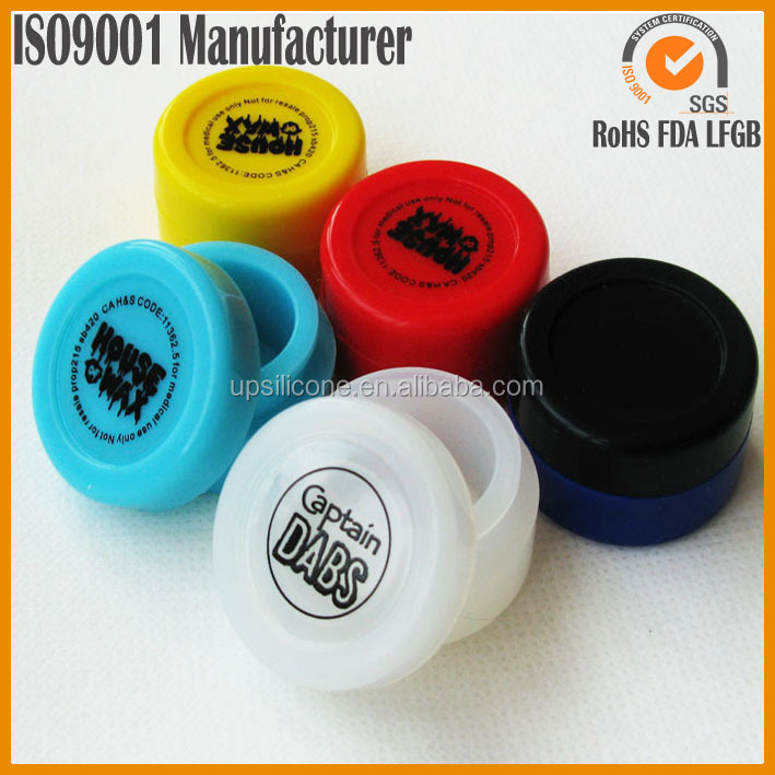 100% food grade logo printing clear silicone oil container silicone bho jar dab container silicone wax container