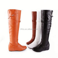 HFR-T0109 made in china 2014 winter belt buckle stylish low heel PU sex women boots