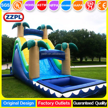 ZZPL Funny Jungle Inflatable Water Slide With Pool / Kids and Adults PVC waterslide for Sale
